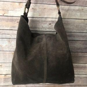 Lucky Brand Brown Suede Hobo Bag